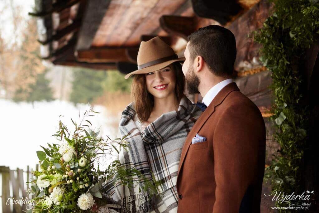 zimowy rustykalny ślub