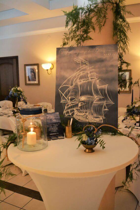 księga gości w postaci żaglowca, nasze realizacje, ślub w kolorze morskich fal, jak wyeksponować oryginalna księgę gości