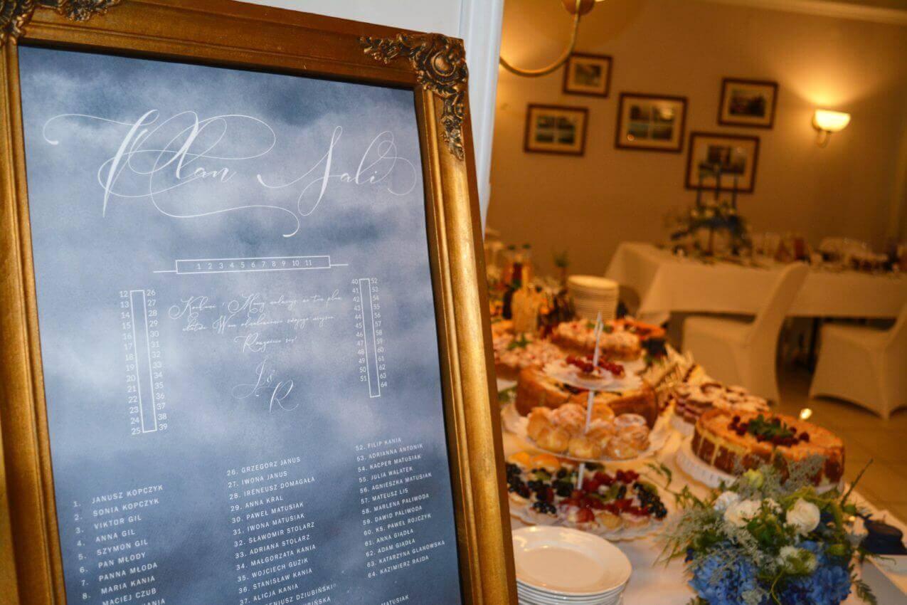 jak zrobić plan graficzny plan stołów przy tradycyjnej podkowie, ślub w kolorze morskich fal, plan stołów w złotej ramie