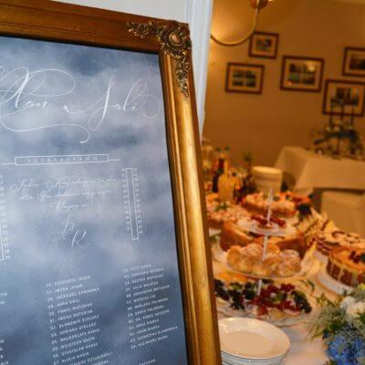 plan stołów wkolorze niebieskim wzłotej ramie